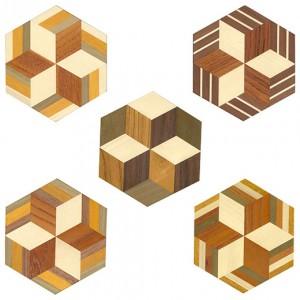 箱根寄木細工 本間木工所・寄木体験教室 寄木コースター特別組立パーツ5枚セット